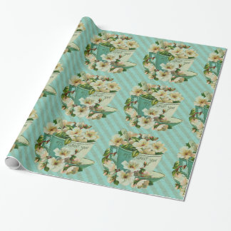Tea Cup with Flowers Vintage Illustration Wrapping Paper