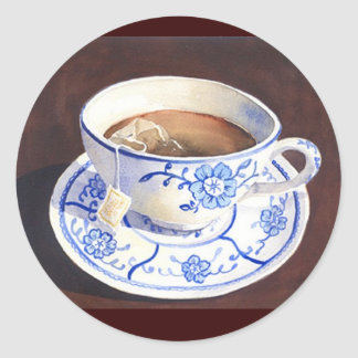 Tea Cup with Teabag Classic Round Sticker