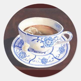 Tea Cup with Teabag Round Sticker