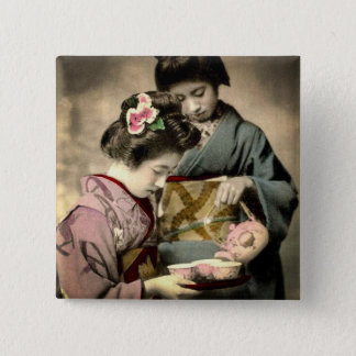 Tea for Two Geisha in Old Japan Vintage Japanese 2 Inch Square Button