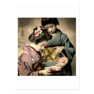 Tea for Two Geisha in Old Japan Vintage Japanese Postcard