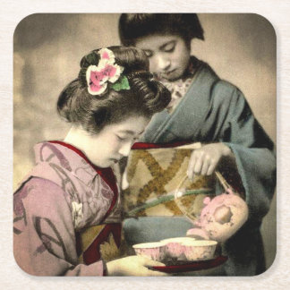 Tea for Two Geisha in Old Japan Vintage Japanese Square Paper Coaster