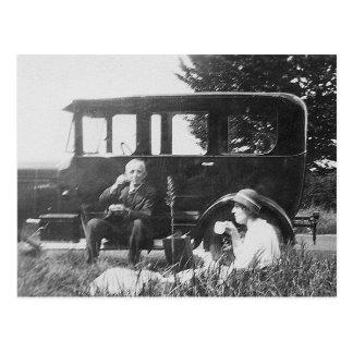 Tea For Two Old Black & White Image - Postcard