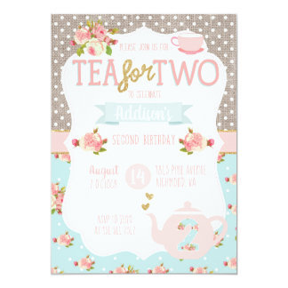 Tea for Two Second Birthday Invitation