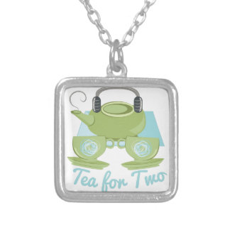 Tea For Two Silver Plated Necklace