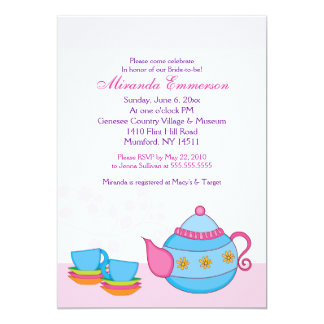 "Tea For Two Tea Party Bridal Shower 5x7 5"" X 7"" Invitation Card"
