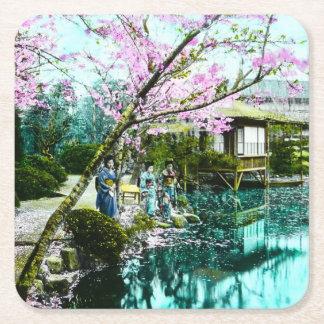 Tea House Geisha in Fugetsu Gardens of Old Japan Square Paper Coaster