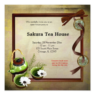 "Tea House Grand Opening 5.25"" Square Invitation Card"