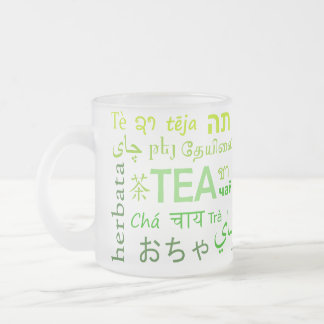 Tea in Every Language in Green Frosted Glass Coffee Mug
