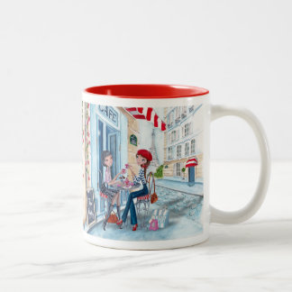 Tea in Paris Fashion Girls Cute - Two Tone Mug