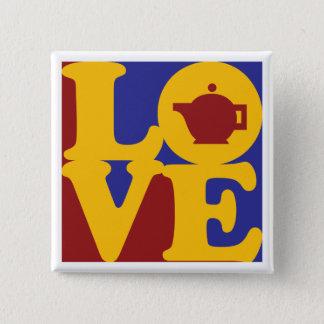 Tea Love 2 Inch Square Button