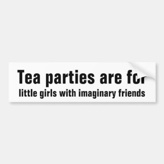 Tea parties for little girls with imaginary friend bumper sticker