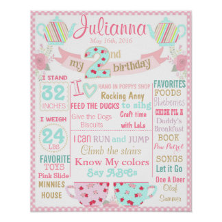 Tea Party 2nd birthday sign poster banner