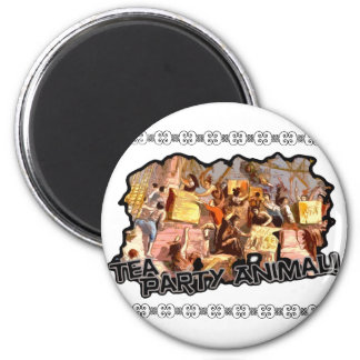 Tea Party Animal (cutout) 2 Inch Round Magnet