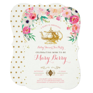 Beautiful Tea Party Baby Shower Invitation