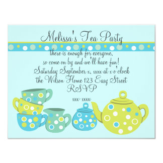 """Tea Party Bedotted 4.25"""" X 5.5"""" Invitation Card"""