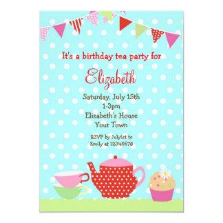 """Tea Party Birthday Invitations 5"""" X 7"""" Invitation Card"""