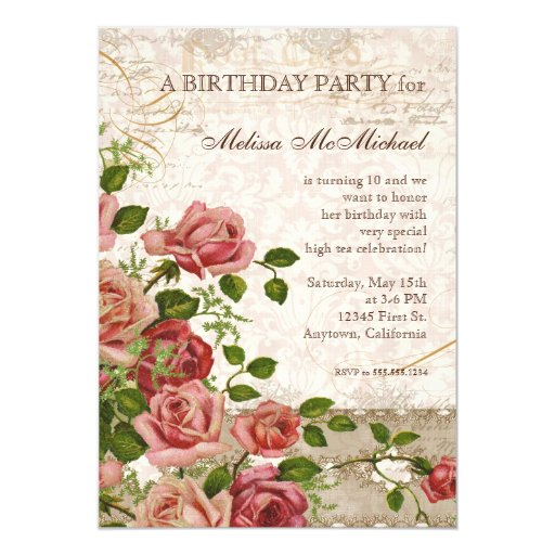 Tea Party Birthday Invite, Trellis Rose Vintage