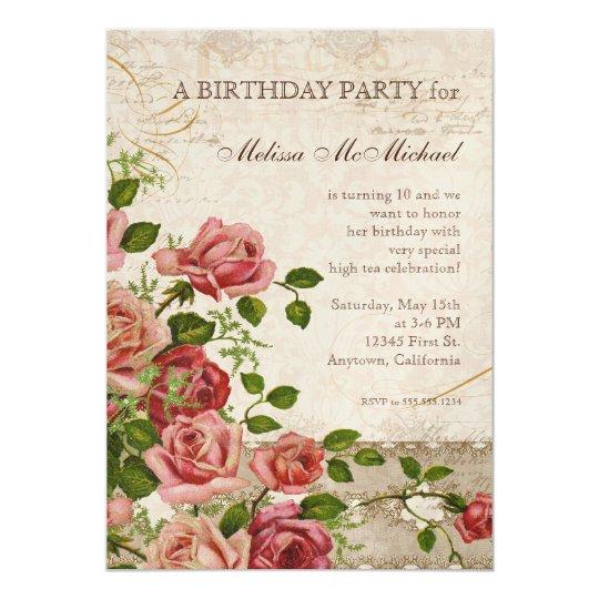Tea Party Birthday Invite, Trellis Rose Vintage Card