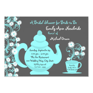 Tea Party Bridal Shower Aqua and Slate Personalized Invites