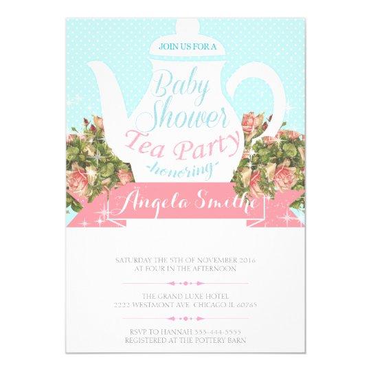 Tea party bridal shower invitation, vintage teapot card