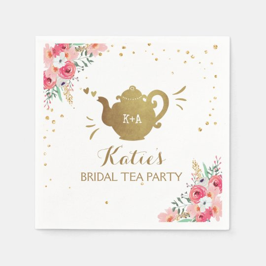 Tea party Bridal shower Paper Napkins Bridal tea