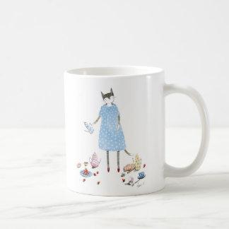 Tea Party Cat in a Karen Walker Dress Coffee Mug