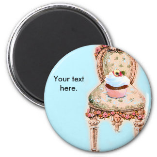 Tea Party Cupcake Design 2 Inch Round Magnet