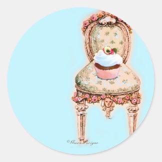 Tea Party Cupcake Design Round Sticker