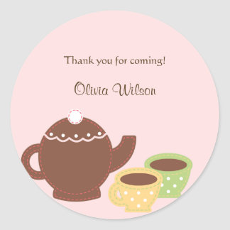 Tea Party Favor Sticker or Envelope Seal Stickers