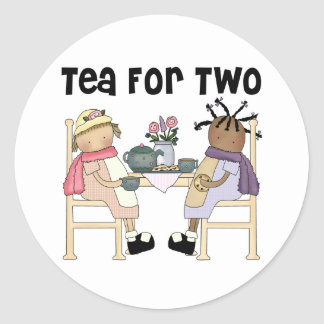 Tea Party for Two Round Sticker