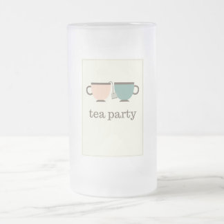 tea party frosted glass beer mug