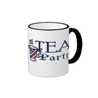 Tea Party Patriotic Political Flag Ringer Mug