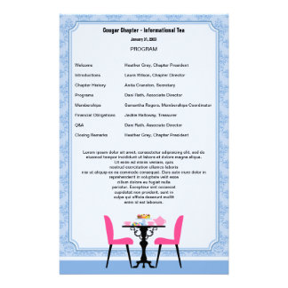Tea Party Program Template Stationery