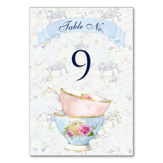 Tea Party Roses Teacups Blue White Pink Yellow Card