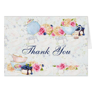 Tea Party Roses Teacups Teapot Thank You Card