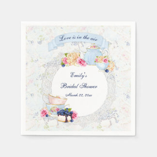 Tea Party Teacups Teapot Blue White Pink Lace Paper Napkins