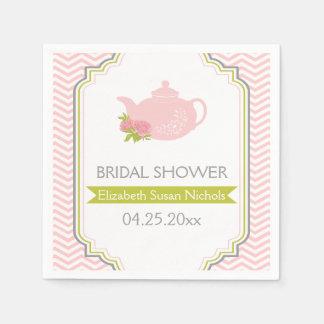 Tea party teapot, chevron pink, green wedding paper napkins