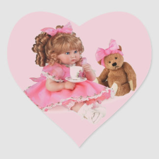 TEA PARTY TIME HEART STICKER