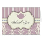Tea Party Vintage Damask Thank You Card