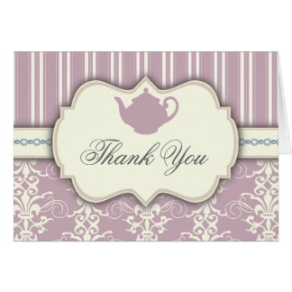 Tea Party Vintage Damask Thank You Card