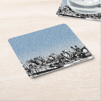 Tea Party with Text Square Paper Coaster