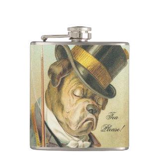 """Tea Please!"" Elegant Vintage Dog Bulldog Hip Flask"