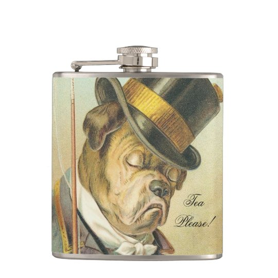 """Tea Please!"" Elegant Vintage Dog Bulldog Hip Flask"