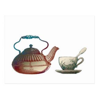 Tea Pot and Tea Cup Art Postcard