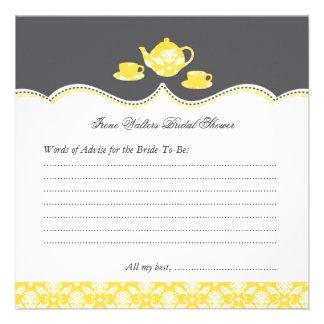 Tea Pot Bridal Shower Advise Card