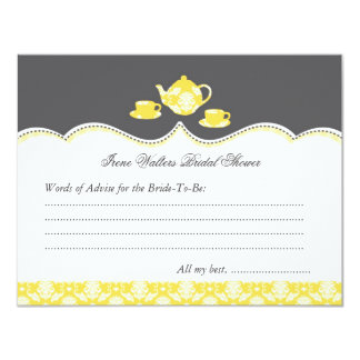 "Tea Pot Bridal Shower Advise Card 4.25"" X 5.5"" Invitation Card"