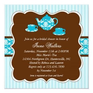 """Tea Pot Bridal Shower Invitation 5.25"""" Square Invitation Card"""