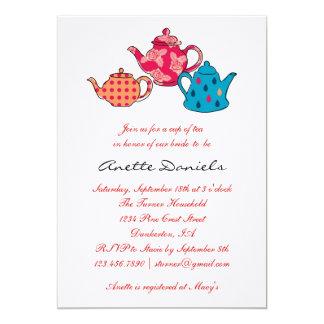 "Tea Pot Bridal Shower Invitation 5"" X 7"" Invitation Card"