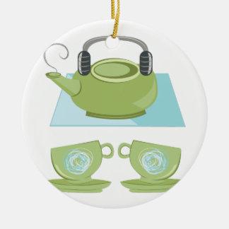 Tea Pot Ceramic Ornament